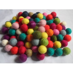 1000 PIECE 2CM MIXED COLOUR FELT BALL