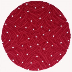100cm White dotted with red felt ball rug