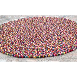 200cm Multi-colored felt ball rug