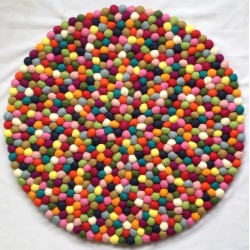 60cm multi-coloured felt ball mat
